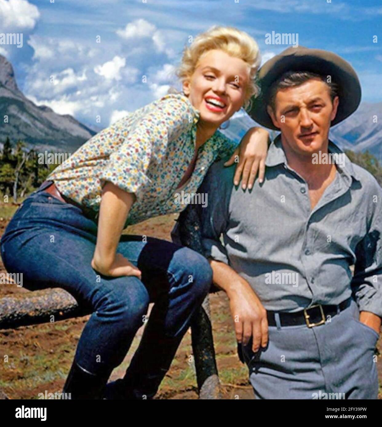 RIVER OF NO RETURN 1954 20th Century Fox film avec Marilyn Monroe et Robert Mitchum se détendant sur le site du parc national Jasper. Banque D'Images