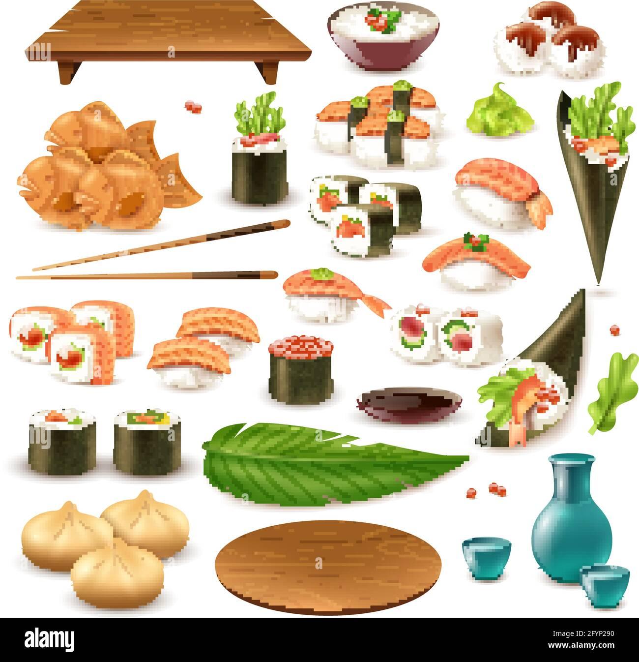 Ensemble de plats japonais comprenant sushi, saké, riz dans un bol, boulettes, wasabi, illustration vectorielle isolée de sauce soja Illustration de Vecteur
