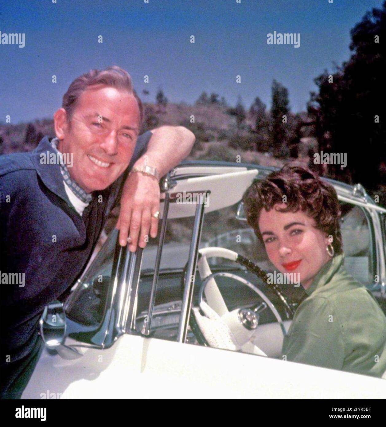 ELIZABETH TAYLOR film anglais-américain actres avec son second mari Michael Wilding vers 1953 Banque D'Images