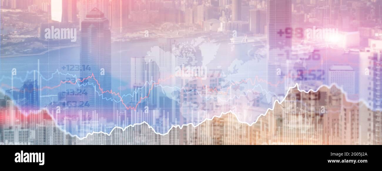 Double explication avec les graphiques d'affaires et le quartier financier de megapolis. Banque D'Images