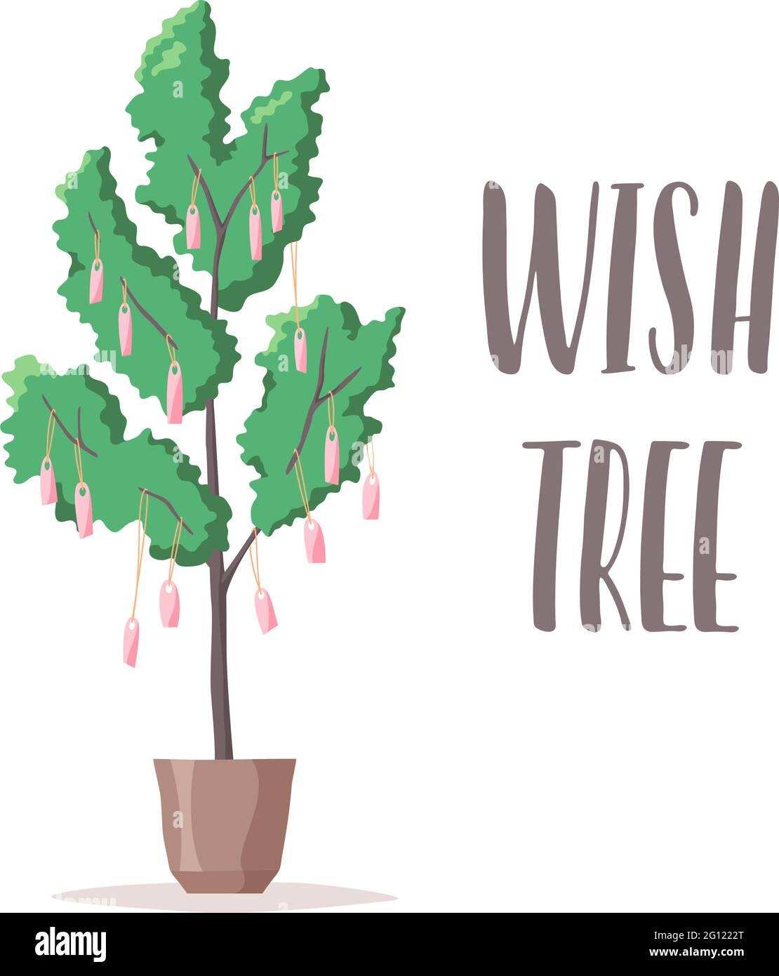 Illustration et lettrage d'arbre de souhaits, notes et étiquettes avec souhaits accrochent sur l'arbre, désirs et rêves écrits, plante en pot, vecteur Illustration de Vecteur