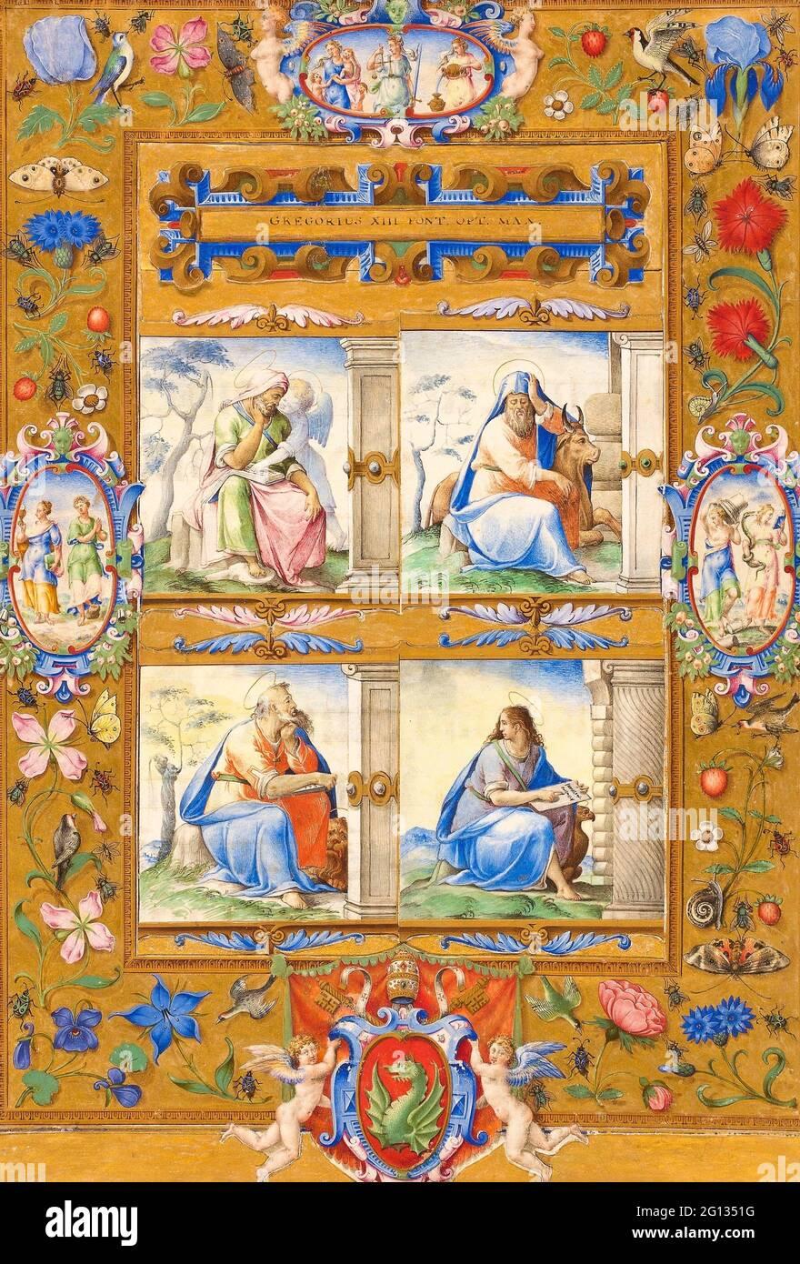 Auteur: Giorgio Giulio Clovio. Les quatre évangélistes, à l'intérieur d'une frontière de fleurs, d'oiseaux, et d'insectes - 1572 - cercle de Giulio Clovio croate, actif Banque D'Images