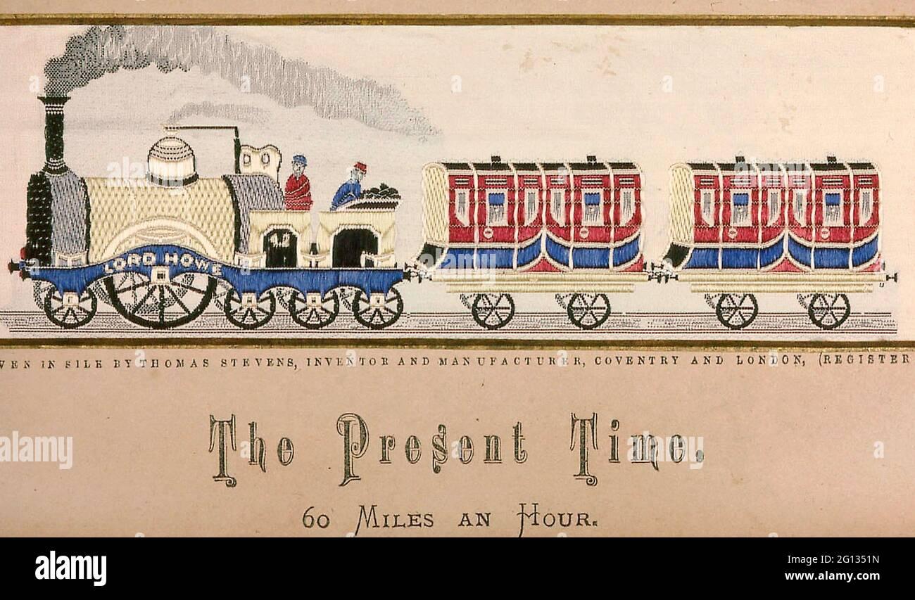 Auteur: Thomas Stevens. L'heure actuelle - après 1879 - Thomas Stevens (Anglais, 1828 - 1888) Angleterre, Coventry. Soie, tissu Uni avec supplément Banque D'Images