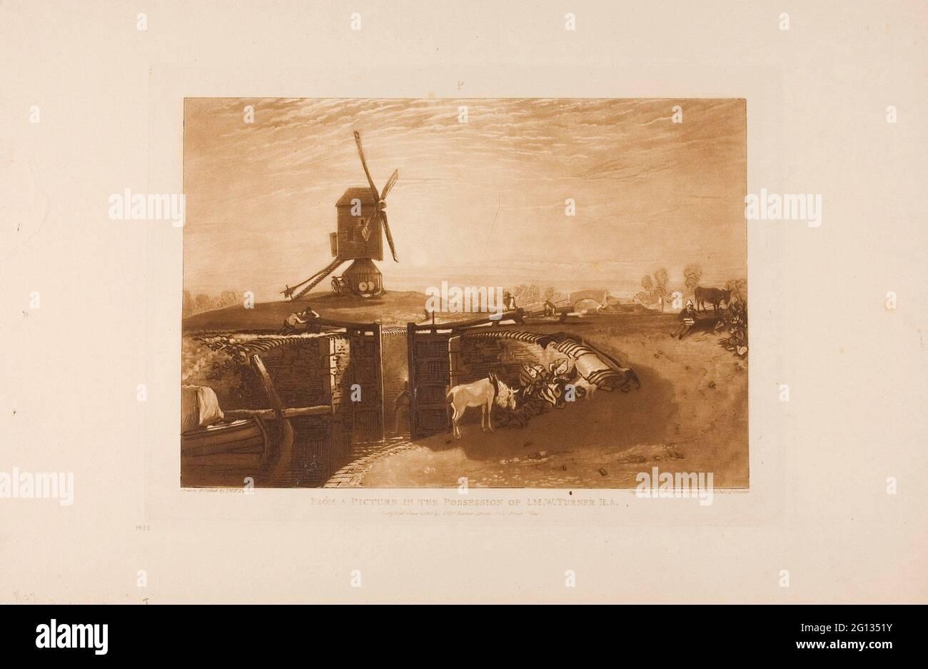 Auteur: Joseph Mallord William Turner. Windmill and Lock, planche 27 de Liber Studiorum - publié le 1er juin 1811 - Joseph Mallord William Turner Banque D'Images