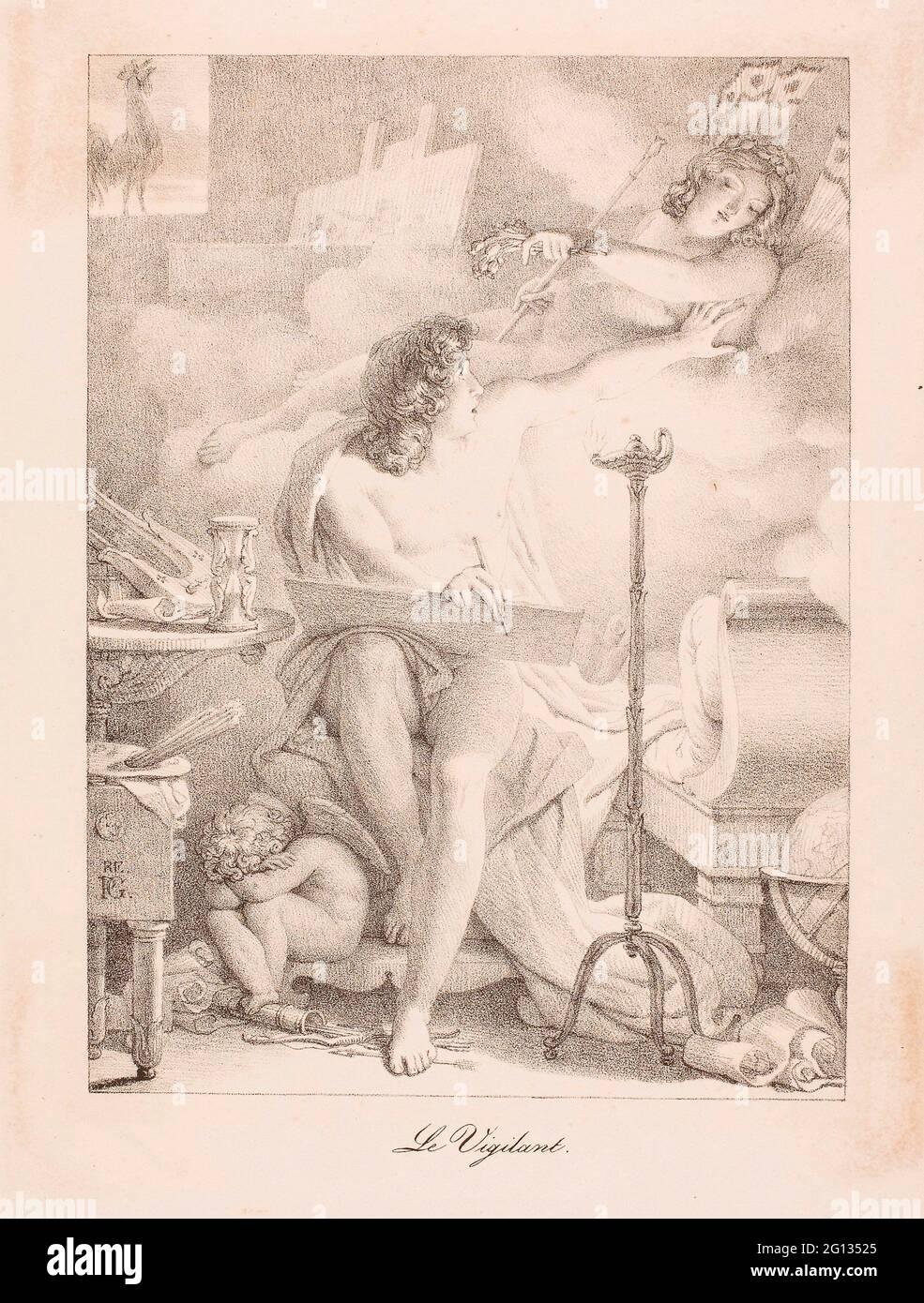 Auteur: Pierre Gurin. Le vigilant - 1816 - Pierre Gurin Français, 1774-1833. Lithographie en noir sur papier vélin crème. France. Banque D'Images