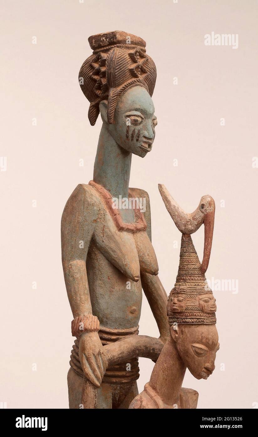 Veranda Post of Enthroned King and Senior épouse (OPO Ogoga) - 1910/14 - Olowe of ISE (décédé en 1938) Yoruba Ikere, région d'Ekiti, Nigeria du palais Banque D'Images