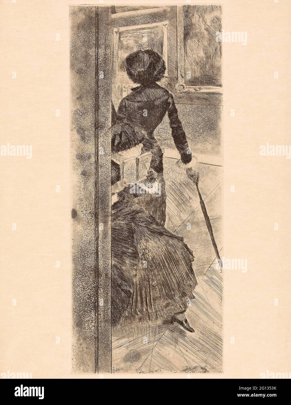 Auteur: Hilaire Germain Edgar Degas. Mary Cassatt au Louvre : la galerie de peintures - 1879 - 80 - Edgar Degas French, 1834-1917. Gravure, douce Banque D'Images