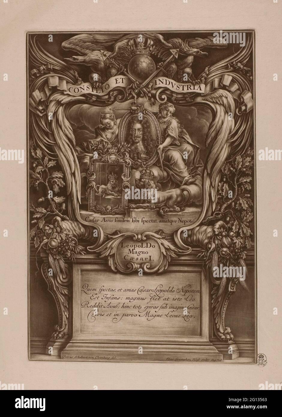 Auteur: Christoph Elias Heiss. Leopoldo Magno, Caesar I, de Triumphus Novem Saeculorum Imperii Romano Germanuci Leopoldo Magno - c. 1700 - Banque D'Images