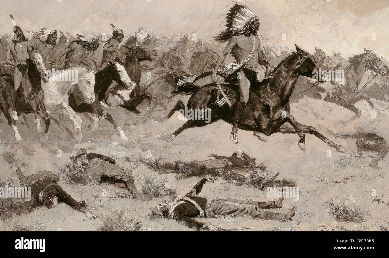 Auteur: Frederic Remington. Rushing Red Lodges passé par la ligne - c. 1900 - Frederic Remington American, 1861 - 1909. Huile sur toile. 1895 - Banque D'Images