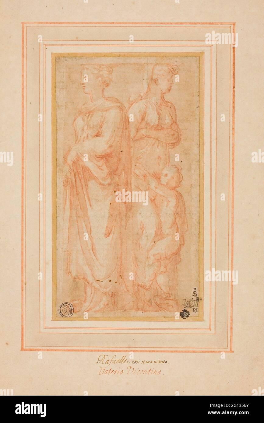 Auteur: Valerio Belli. Deux figurines féminines avec enfant - 1530/45 - attribuées à Valerio Belli Italian, c. 1468-1546. Craie rouge avec brosse et marron Banque D'Images