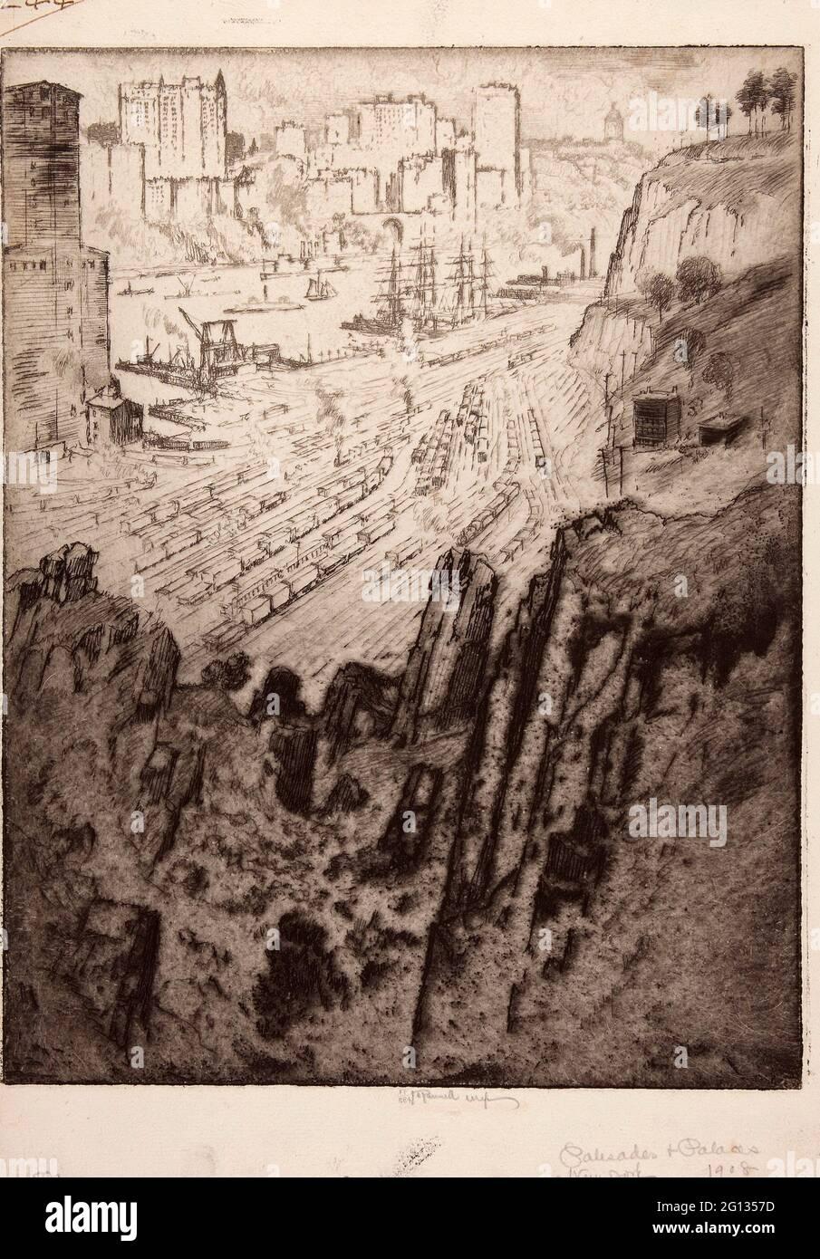 Auteur: Joseph Pennell. Palisades et Palais - 1908 - Joseph Pennell American, 1857-1926. Gravure de papier à poser ivoire. États-Unis. Banque D'Images