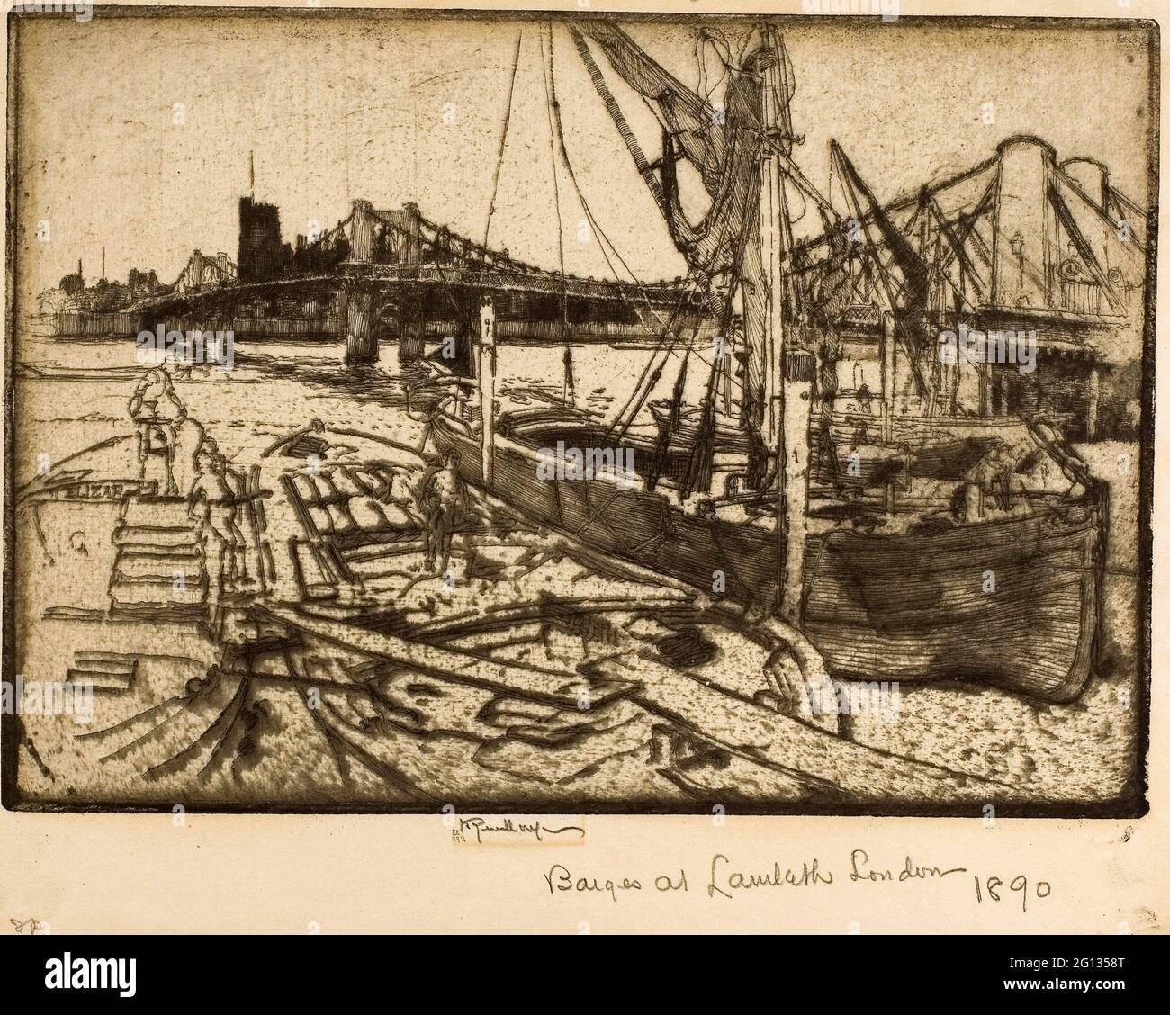 Auteur: Joseph Pennell. Chelsea, no II - 1886 - Joseph Pennell American, 1857-1926. Gravure sur papier vélin ivoire. 1885 - 1886. États-Unis. Banque D'Images