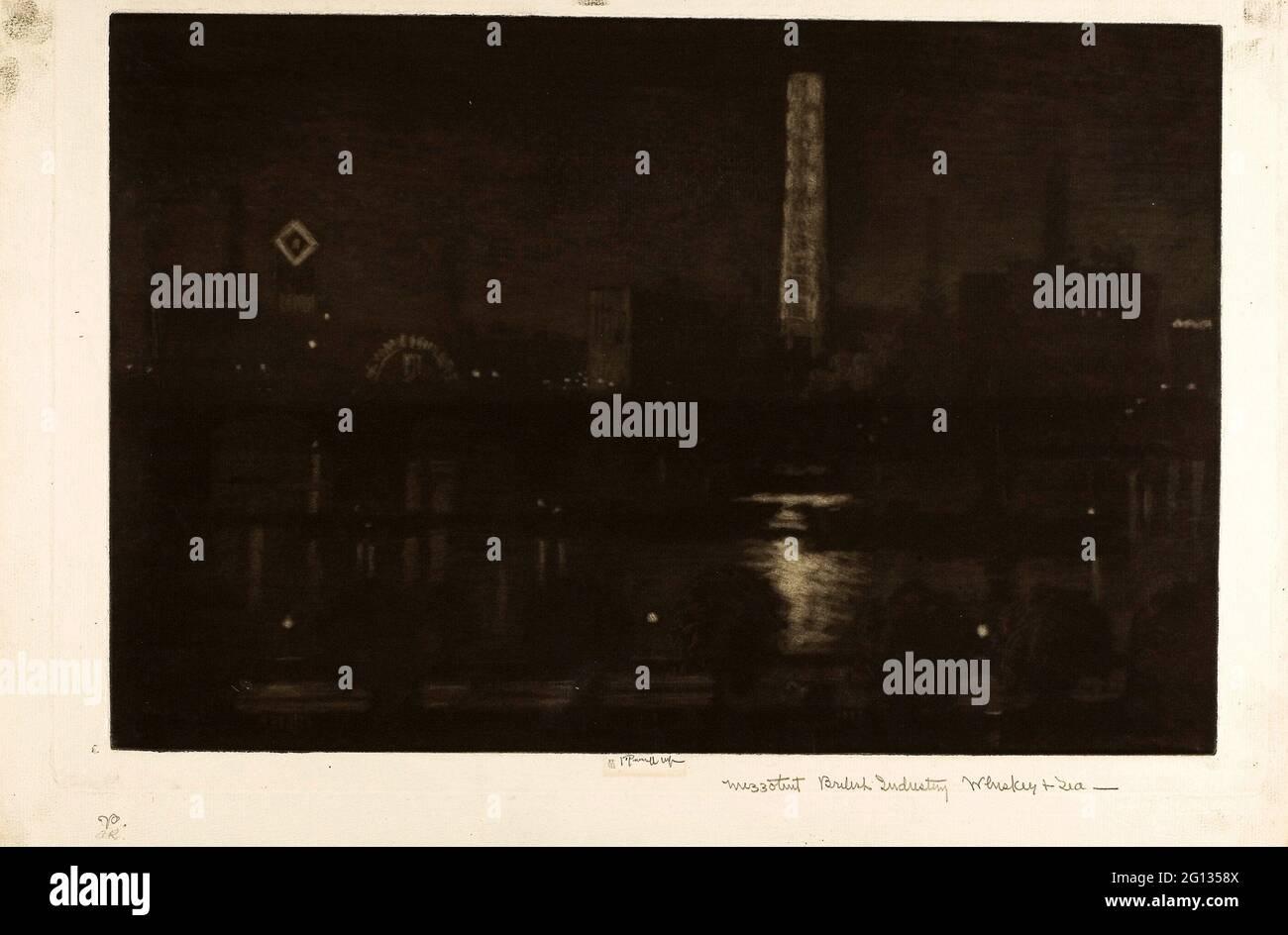 Auteur: Joseph Pennell. Nuit de Londres, Whiskey and Tea - 1909 - Joseph Pennell American, 1857-1926. Mezzotint en noir sur papier ivoire. Unis Banque D'Images