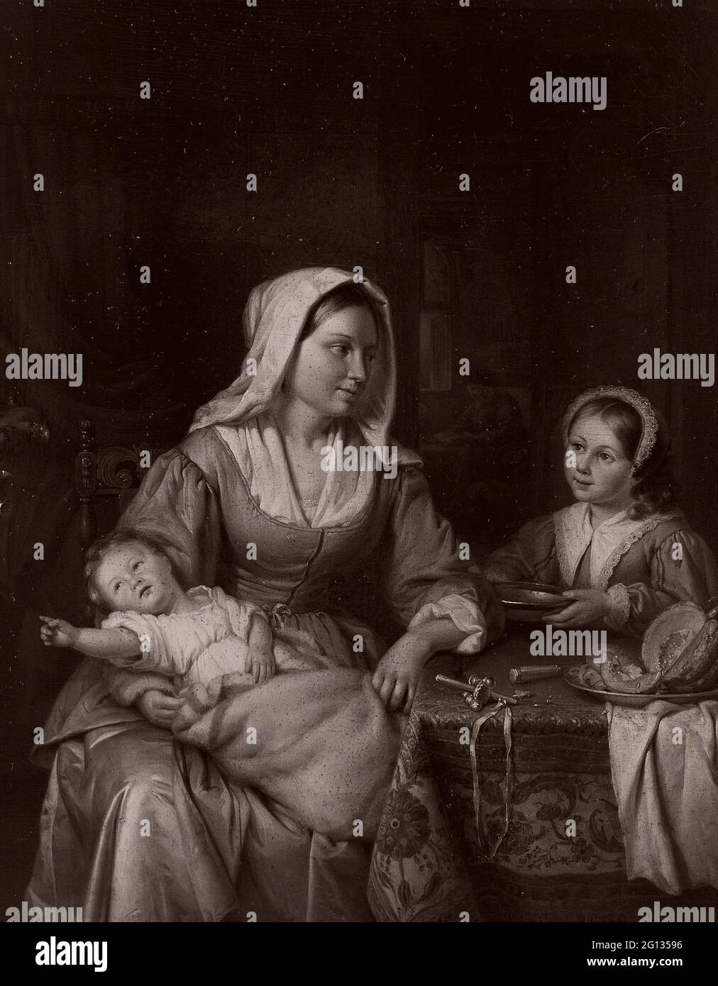 Auteur: Adriaan de Lelie. Mère et deux enfants à vie morte - 1810 - Adriaen de Lelie Dutch, 1755-1820. Huile sur le panneau. Pays-Bas. Banque D'Images