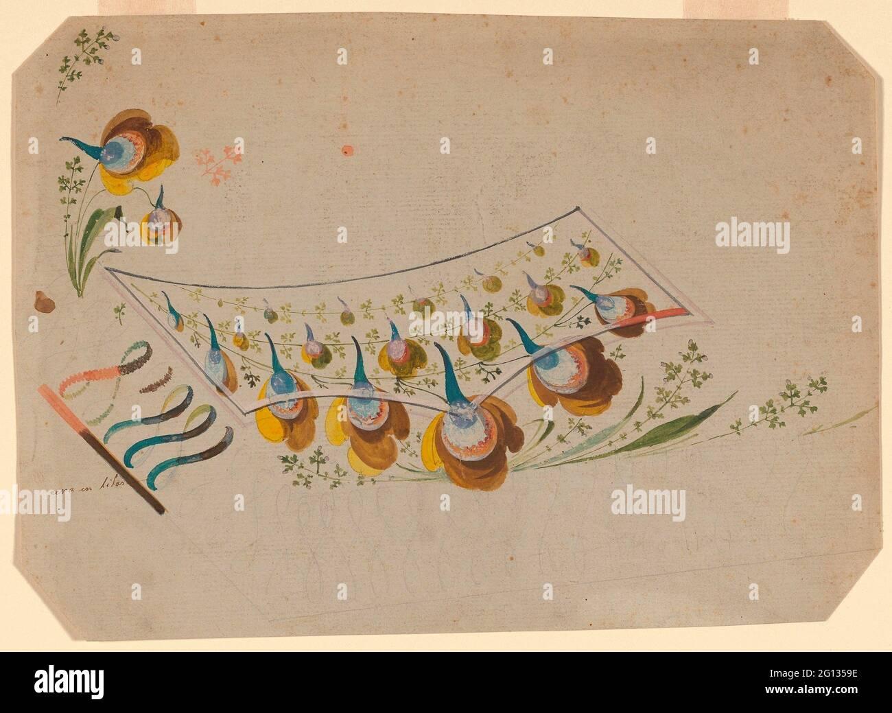 Design pour un gilet de costume brodé poche - 1780/90 - France, probablement Lyon. Motif fleuri polychrome avec des arabesques le long du bord inférieur du gilet. Banque D'Images