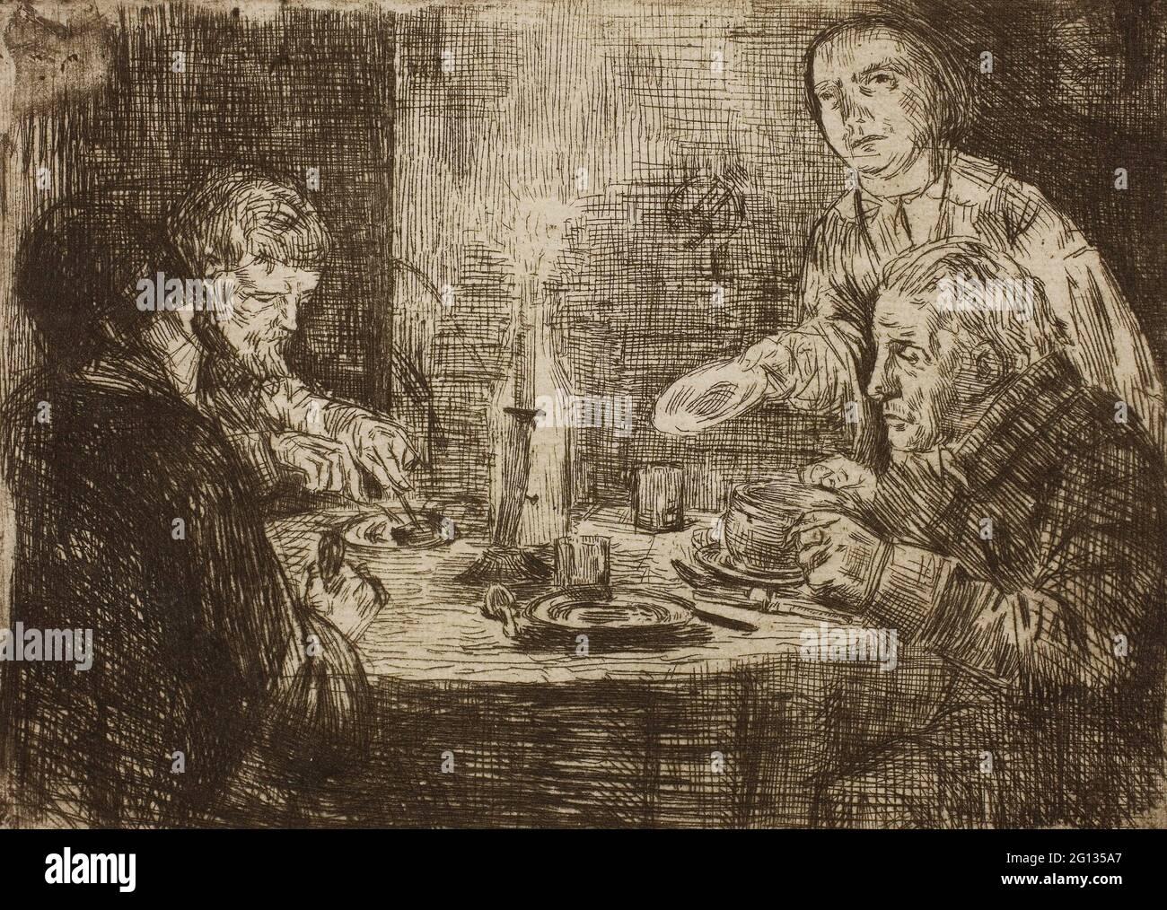 Auteur: Alphonse Legros. La Cène - 1861 - Alphonse Legros French, 1837-1911. Gravure sur papier ivoire. France. Banque D'Images