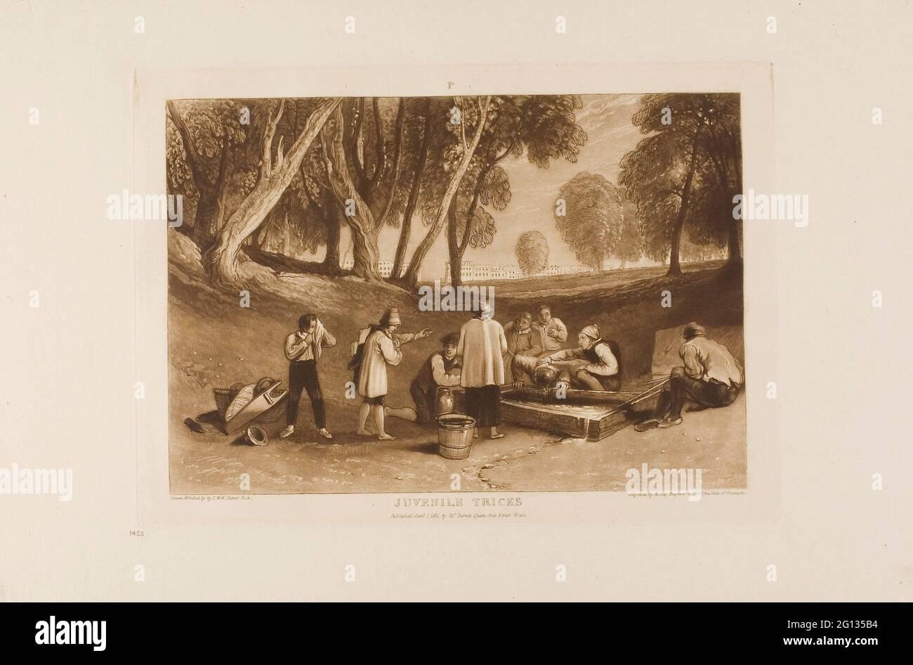 Auteur: Joseph Mallord William Turner. Jeunes Tricks, planche 22 de Liber Studiorum - publié le 1er janvier 1811 - Joseph Mallord William Turner Banque D'Images