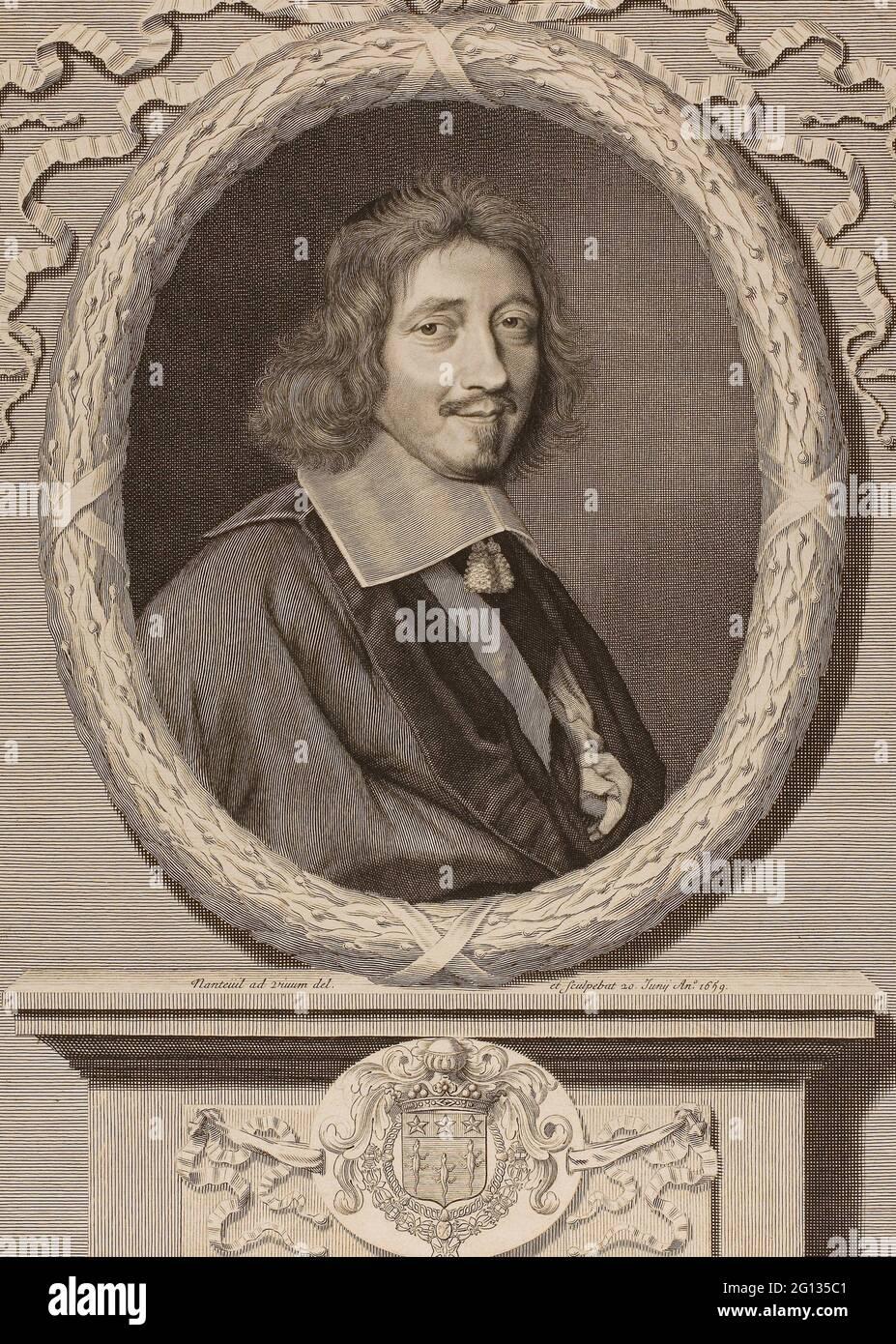 Auteur: Robert Nanteuil. Le Chancellier le Tellier - 1659 - Robert Nanteuil Français, 1623-1678. Gravure sur papier. France. Banque D'Images