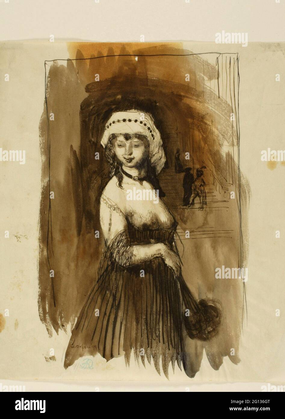 Auteur: William Newenham Montague Orpen. Femme avec un fan - William Newenham Montague Orpen Irish, 1878-1931. Stylo et encre brune, avec pinceau et marron Banque D'Images