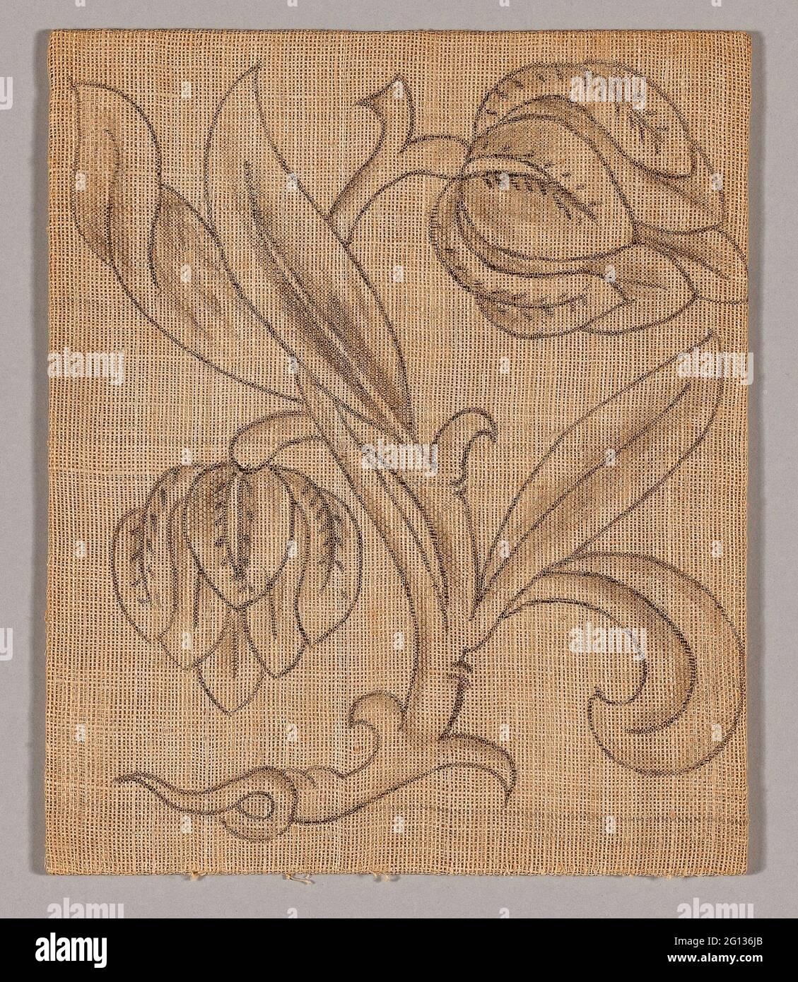 Slip (Unfinished) - 17ème siècle - Angleterre. Lin, tissé Uni; dessin en graphite. 1601 - 1700. Banque D'Images