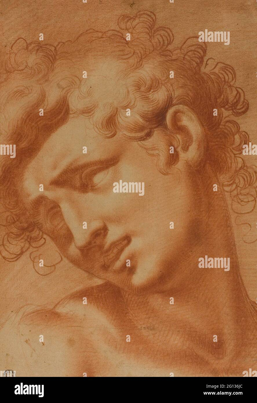 Auteur: Cristoforo Roncalli. Chef d'une Jeunesse - 1595/1605 - Cristofano Roncalli, appelé il Pomarancio Italien, 1552-1626. Craie rouge avec trébuchement, sur Banque D'Images