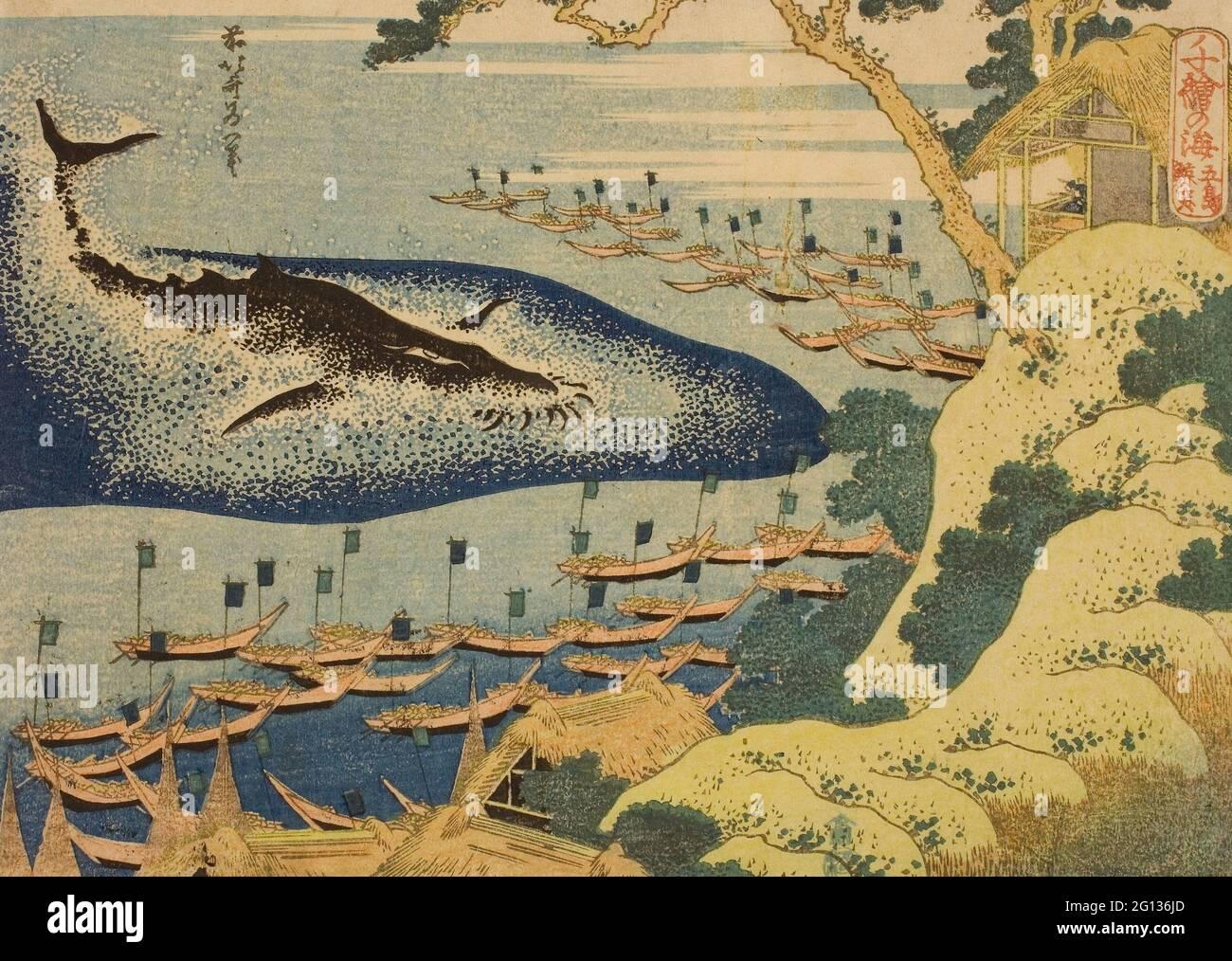 Auteur: Katsushika Hokusai. La chasse au large de la côte des îles Goto (Goto kujira tsuki), de la série - - mille photos de l'océan Banque D'Images