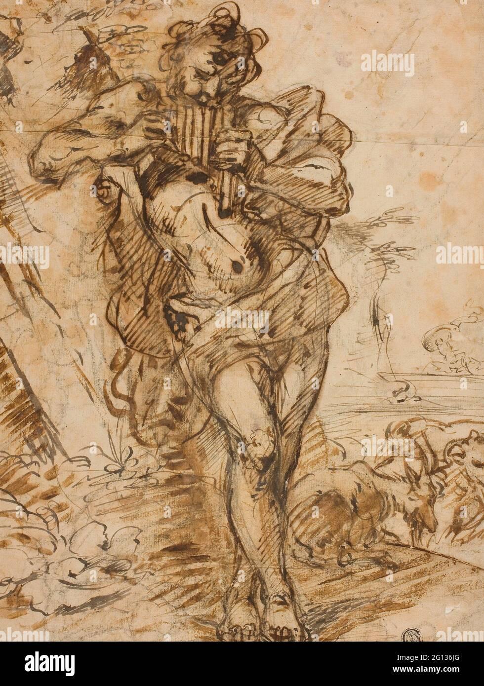 Auteur: Suiveur de Giovanni Benedetto Castiglione. PAN - peut-être un disciple de Giovanni Benedetto Castiglione Italien, 1609-1664. Stylo et fer Galle Banque D'Images