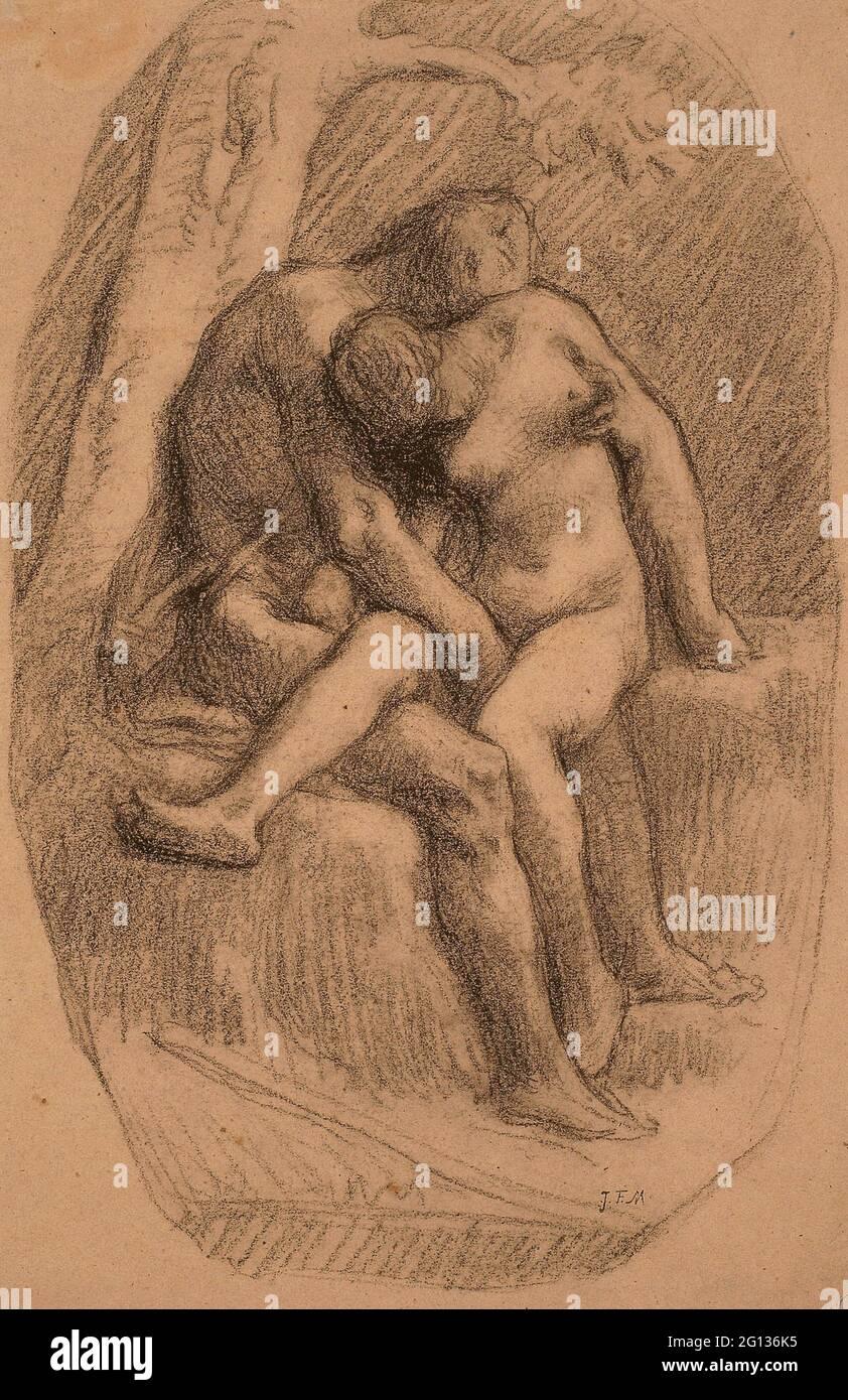 Auteur: Jean Franois Millet. Les amoureux - 1846/50 - Jean Franois Millet Français, 1814-1875. Crayon noir, sur papier vélin à fibres bleues. 1846 - Banque D'Images