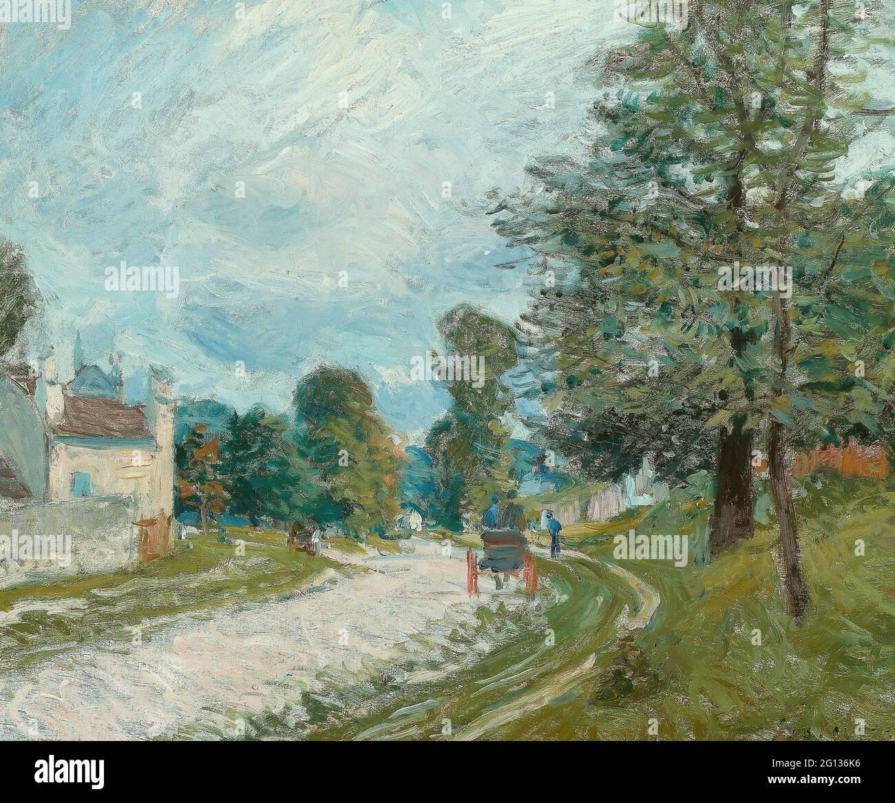 Auteur: Alfred Sisley. Un tour dans la route - 1873 - Alfred Sisley Français, 1839-1899. Huile sur toile. France. Banque D'Images