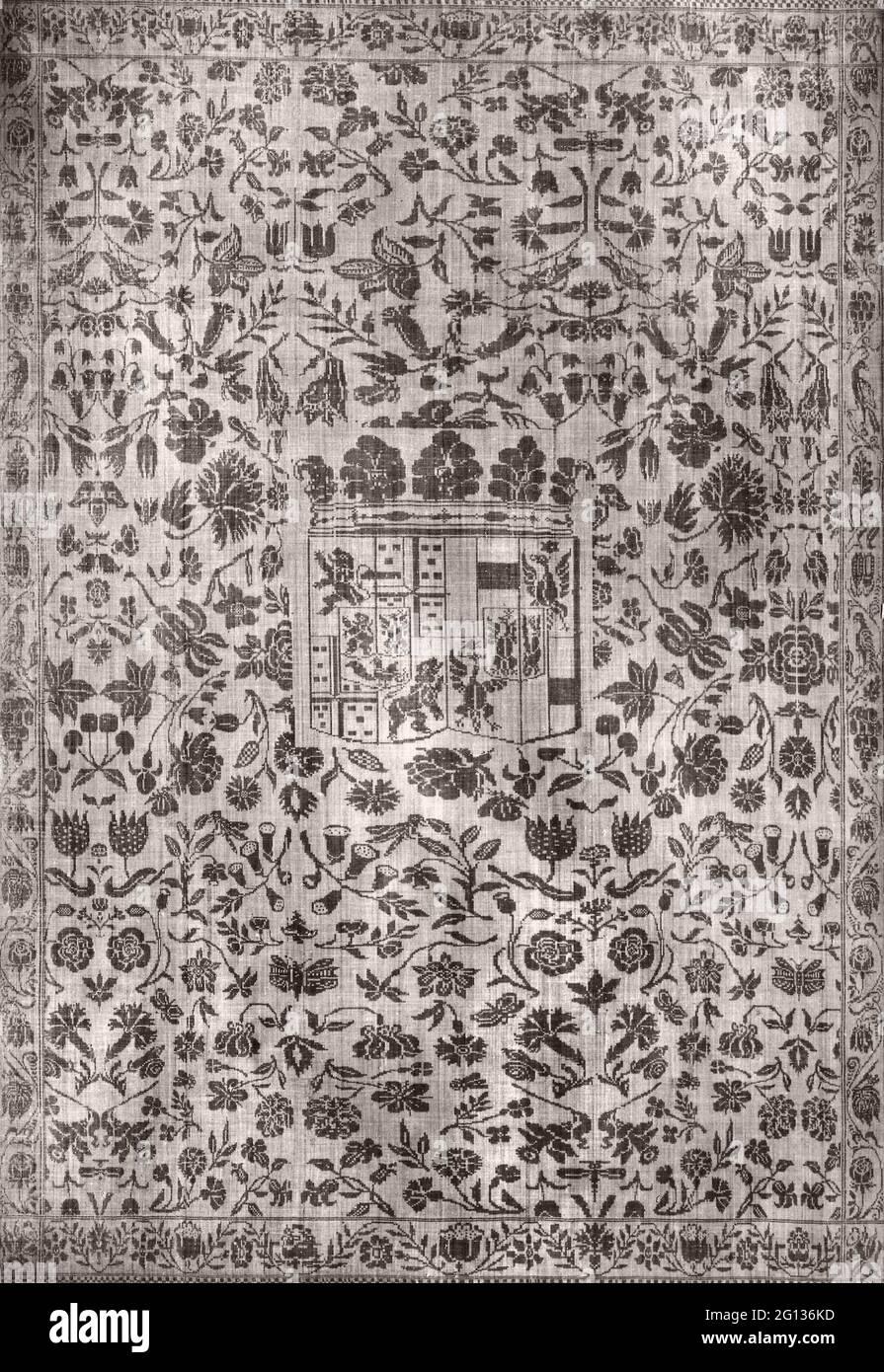 Serviette de table - c. 1665 - Nord des pays-Bas, Château Nienoor (provenance de Groningen) près de Midwolde où ils ont été enterrés près de l'église. Lin, satin Banque D'Images