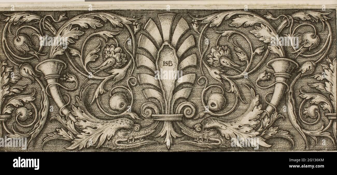 Auteur: Hans Sebald Beham. Ornement avec un Palmette - Sebald Beham allemand, 1500-1550. Gravure en noir sur papier ivoire. 1520 - 1550. Allemagne. Banque D'Images