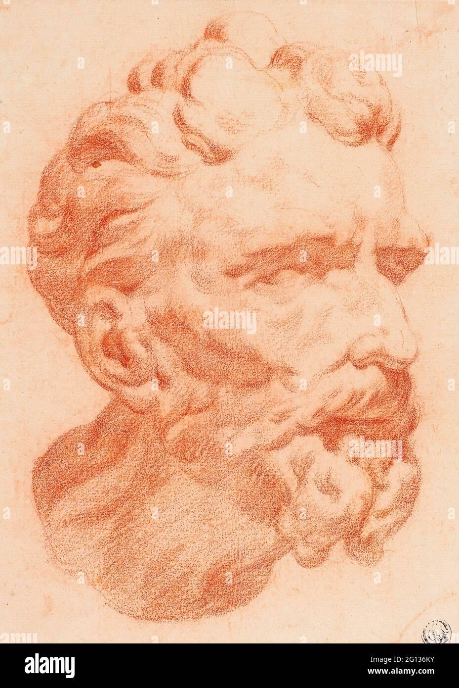 Auteur: Pietro Dandini. Tête de l'homme barbu dans le profil de trois-quarts à droite - attribué à Pietro Dandini Italien, 1646-1712. Craie rouge sur ivoire Banque D'Images