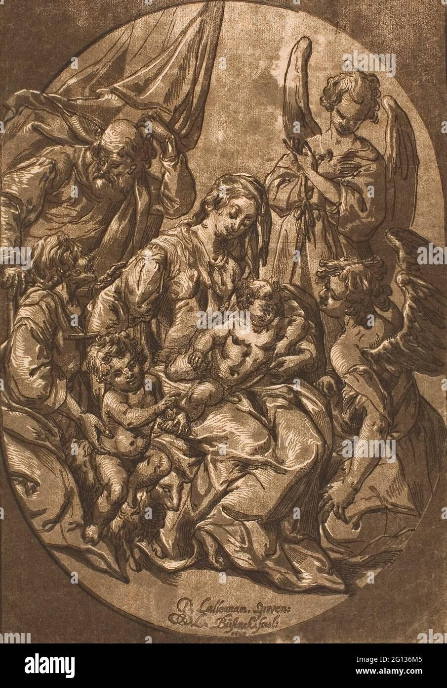 Auteur: Ludolph Bsinck. Sainte famille dans un cadre ovale - 1623 - Ludolph Bsinck Allemand, c. 1590-après 1643. Chiaroscuro coupe de bois de trois blocs, on Banque D'Images