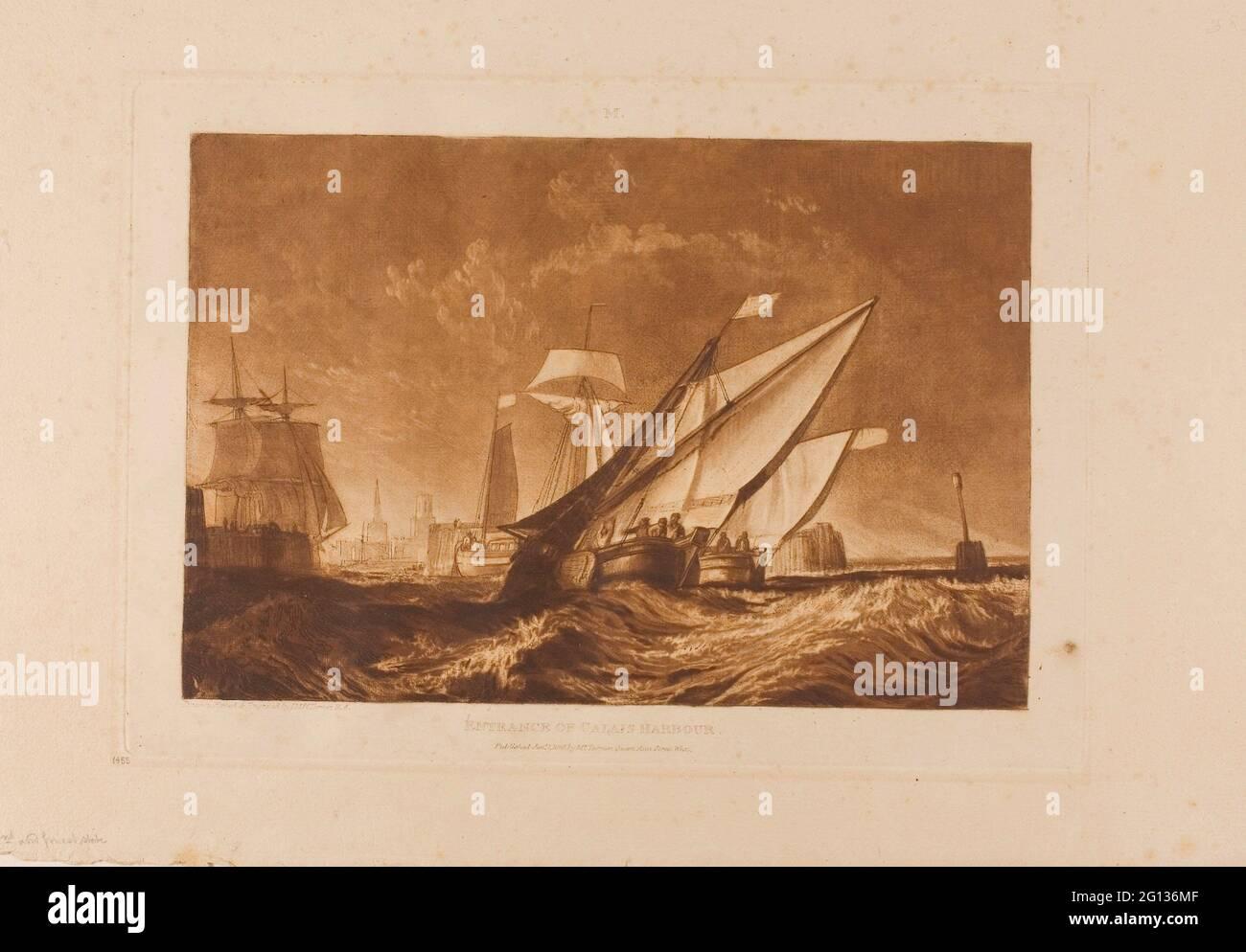 Auteur: Joseph Mallord William Turner. Entrée du port de Calais, planche 55 de Liber Studiorum - publié le 1er janvier 1816 - Joseph Malbord William Banque D'Images