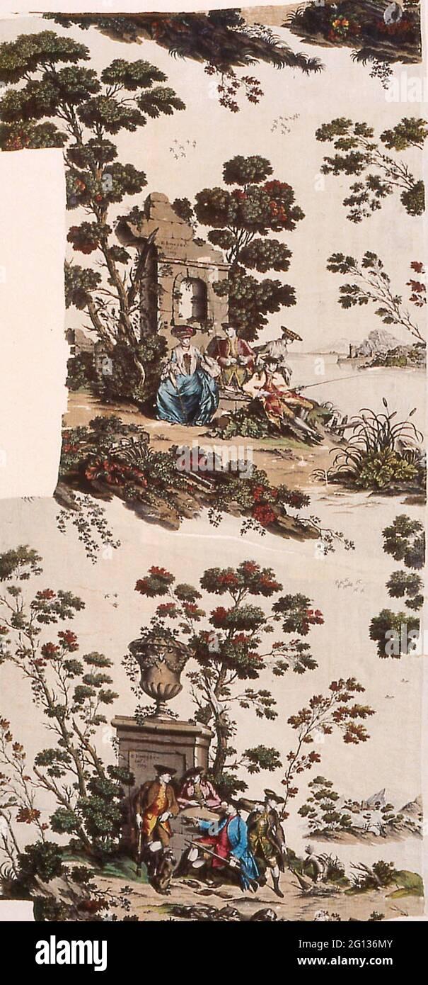 Auteur: Robert Jones et Compagnie. Panneau (tissu d'ameublement) - 1769 - fabriqué par Robert Jones & Co. England, Old Ford, Middlesex. Lin et Banque D'Images