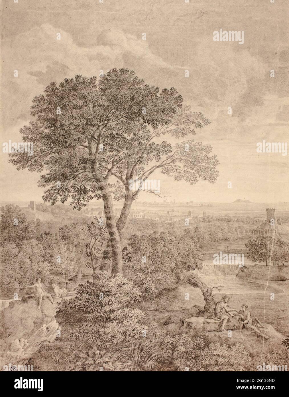 Auteur: Gaspard Dughet. Fresque à Palazzo Colonna, Rome - après Gaspard Dughet Français, 1615-1675. Crayon noir avec craie noire sur les touches Banque D'Images