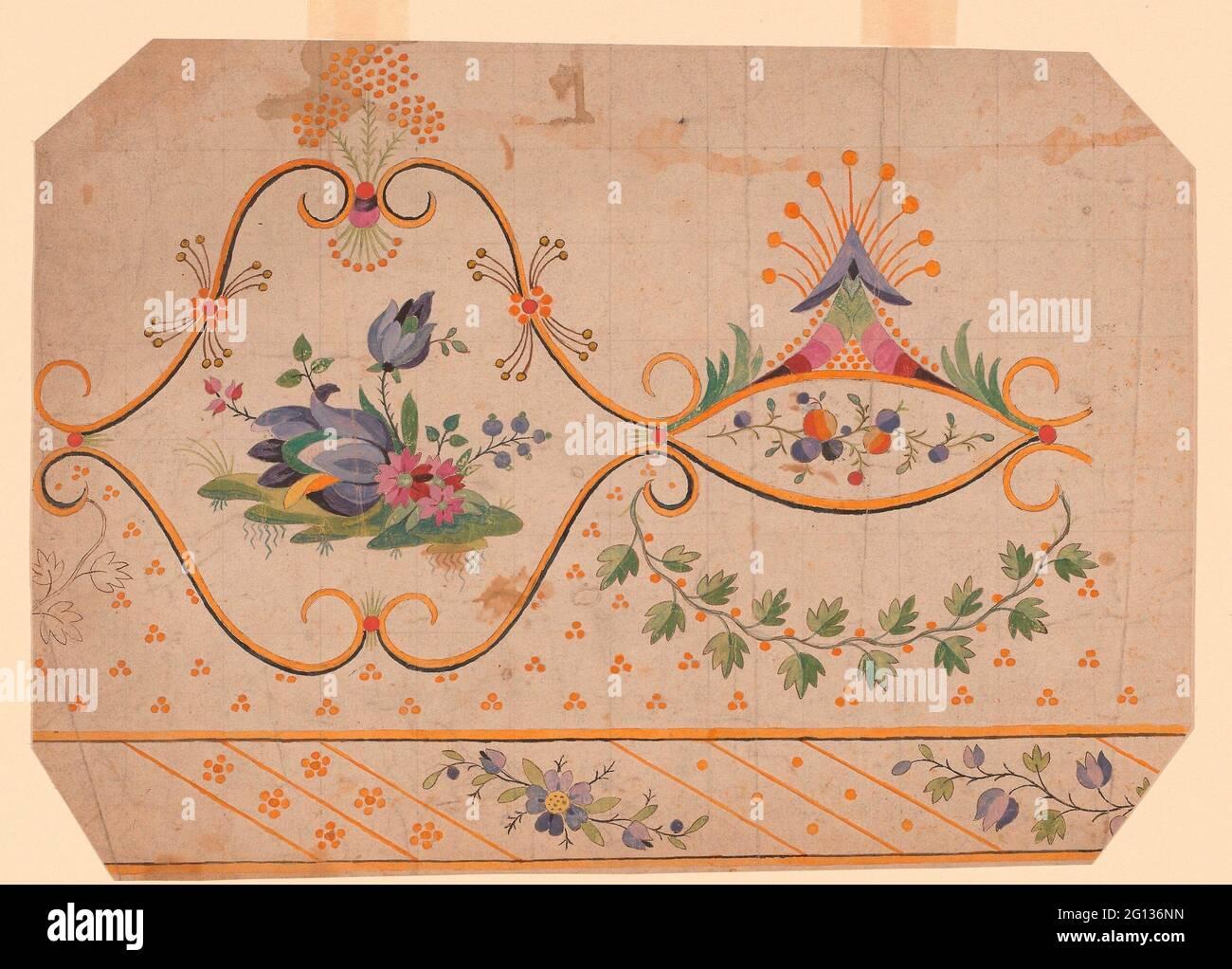 Design pour une bordure tissée, imprimée ou brodée - 18e/19e siècle - France. Conception sur papier. 1701 - 1900. Banque D'Images