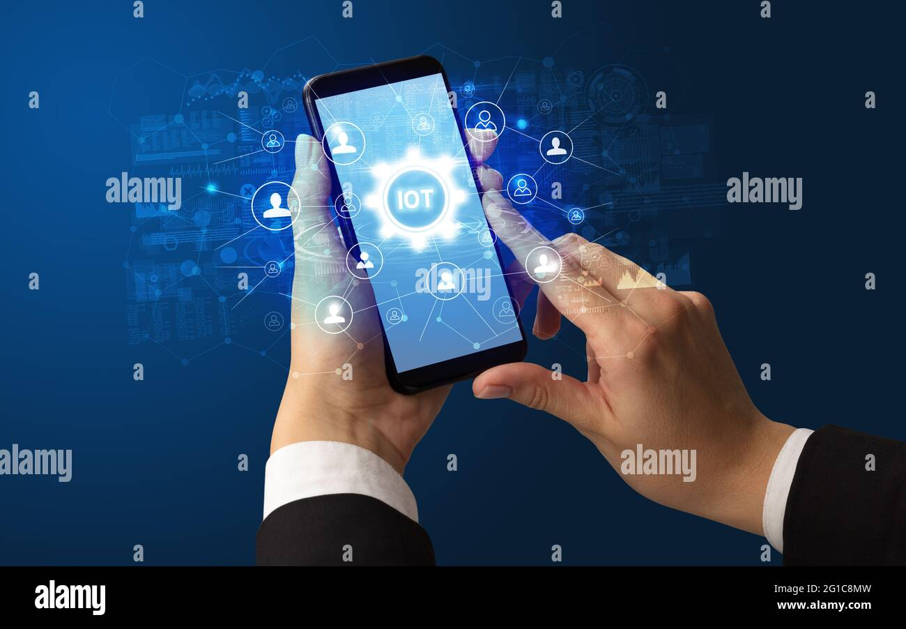 Utilisation manuelle d'un smartphone avec concept de technologie Banque D'Images