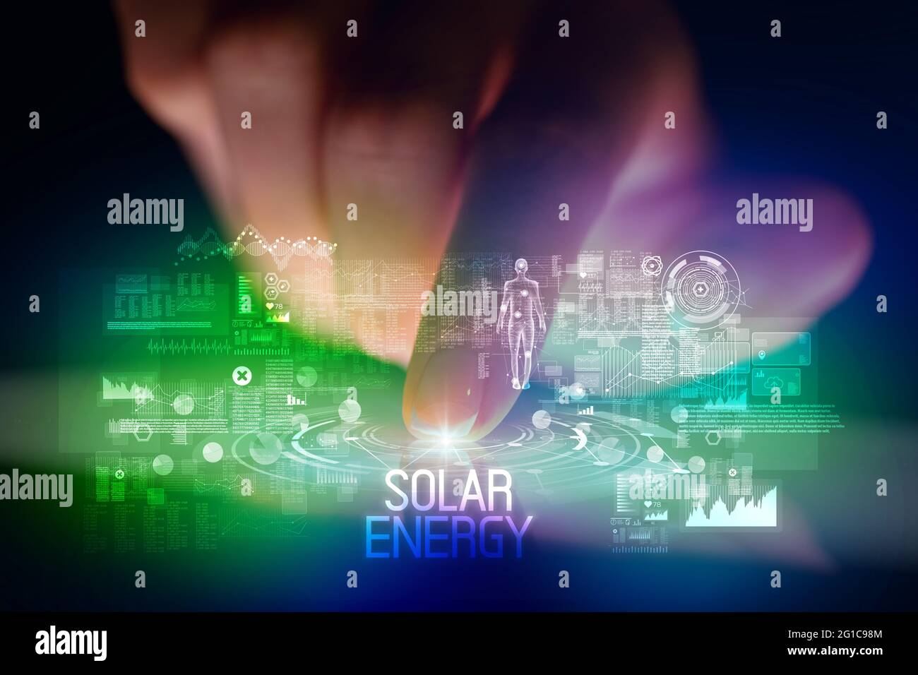 Concept de tablette tactile avec icônes de technologie Web Banque D'Images