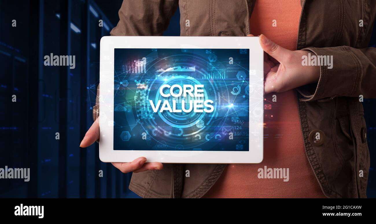 Personne tenant une tablette, concept d'entreprise Banque D'Images