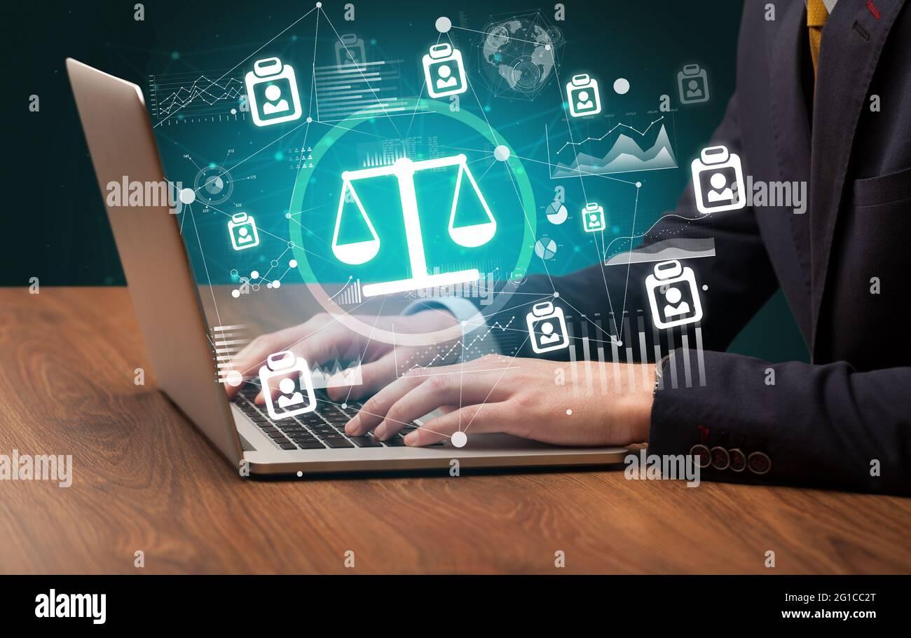 Travail professionnel sur ordinateur portable, concept d'entreprise réussi Banque D'Images