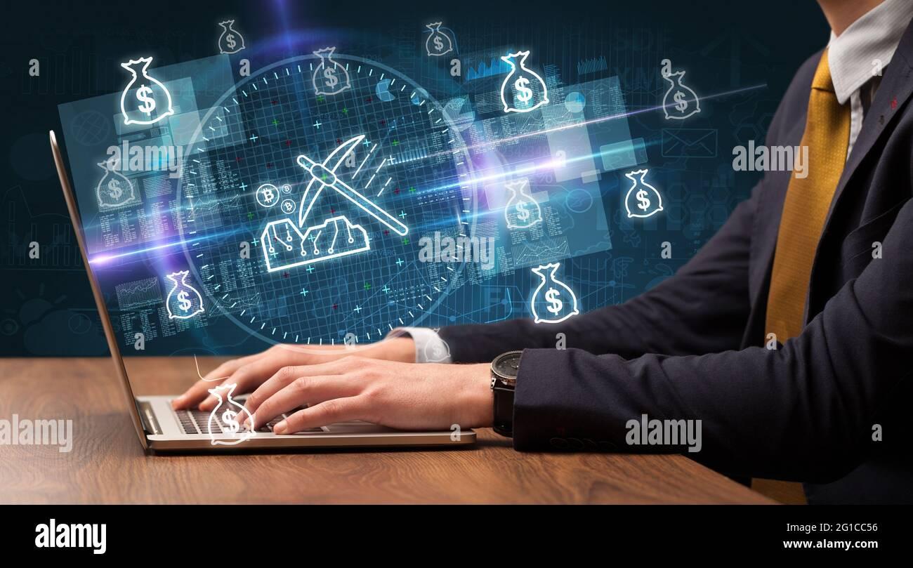 main d'affaires travaillant sur le marché boursier Banque D'Images