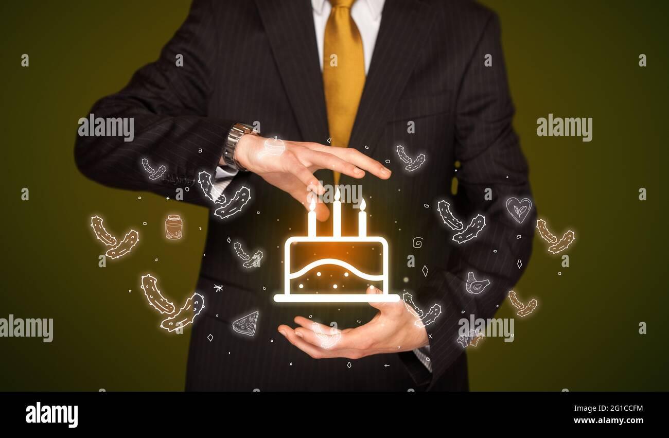 Icônes liées aux aliments à la main Banque D'Images