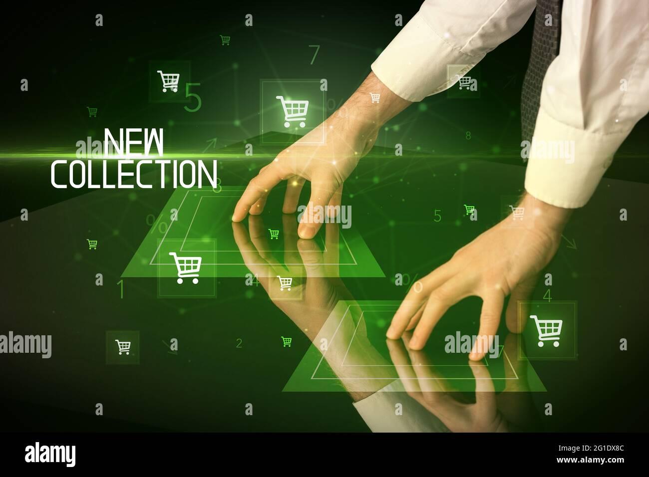 Concept d'achat en ligne avec icônes de panier Banque D'Images
