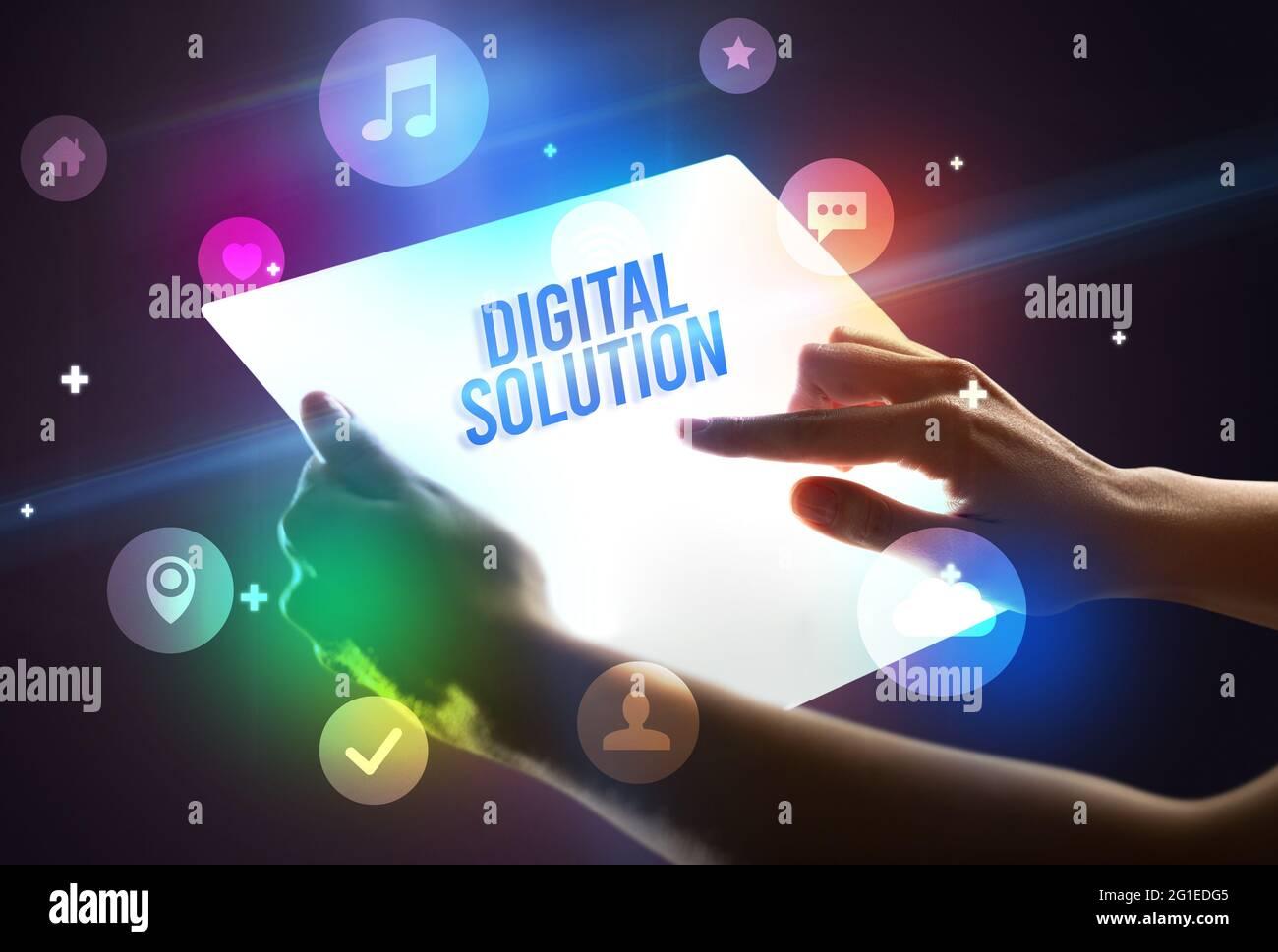 Tablette futuriste, nouveau concept multimédia Banque D'Images
