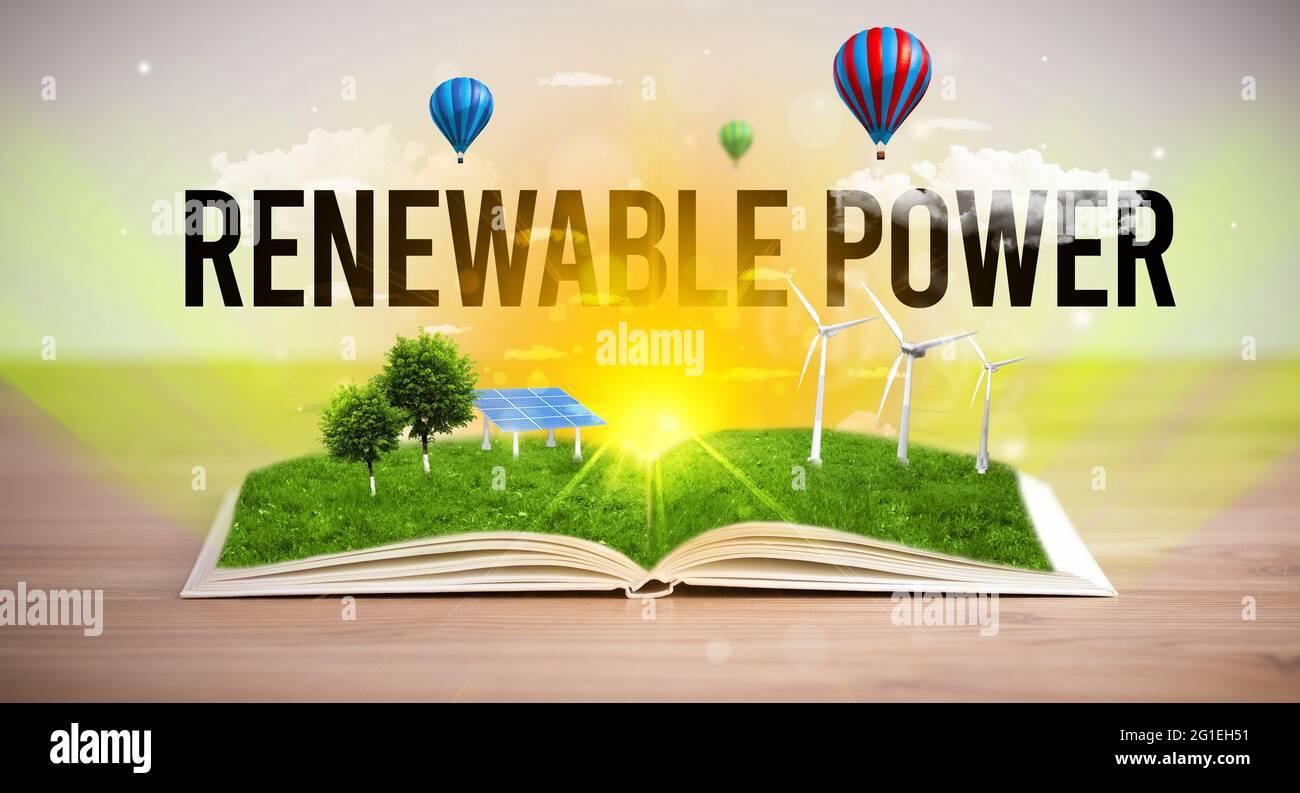 Livre ouvert, concept d'énergie renouvelable Banque D'Images