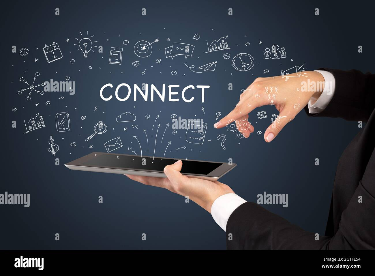Gros plan d'un concept de médias sociaux à écran tactile Banque D'Images