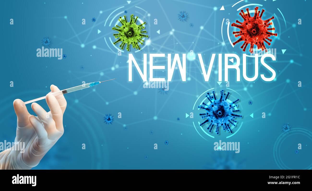 Seringue, injection médicale en main, concept de vaccin coronavirus Banque D'Images