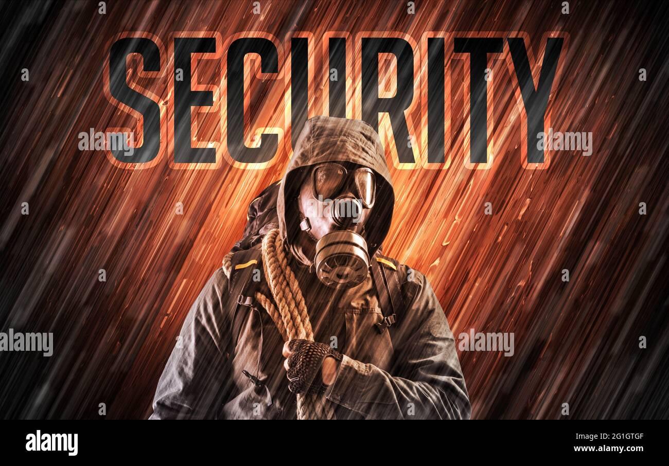 Homme mystérieux avec concept de sécurité Banque D'Images