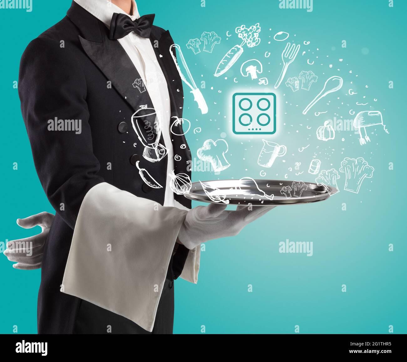 Plateau argenté avec icônes de nourriture ci-dessus Banque D'Images